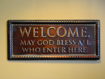 Welcome sign in our office